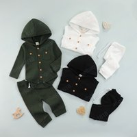 2PCS Fashion Baby Clothes Set Fall Winter Solid Color Waffle Long Sleeve Hooded Romper and Tie-up Trousers For Kids Girls Boys
