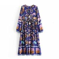 BOHO Moda Bohemian Kadınlar Çiçek Baskı Flare Kol Midi Elbiseler Bayanlar Ruffles Pamuk Pileli Boho Elbise Vestidos