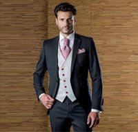 Men's Suits & Blazers Handsome Designer Mens One Button Wedding For Men With Jacket Vest And Pants Groom Tuxedos Three Pieces Peaked Lapel
