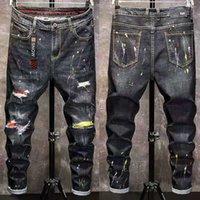 الرجال الشتاء جينز السراويل الدافئة الصوف دمرت ممزق الدينيم السراويل سميكة الحرارية المتعثرة السائق للرجال الملابس