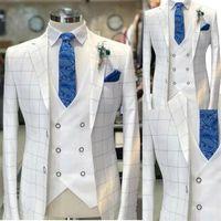 White Men Suits Check Pattern Wedding Tuxedo Formal Wear Customized Handsome Party Suit Coat+Vest+White Pant