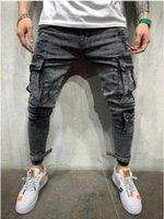 Concepteur jeans printemps gros poches pantalons crayon déchiré motard jean pantaliers hommes noir