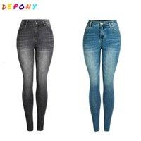 جينز نحيل رمادي عالية الخصر المرأة 96٪ القطن الجينز الدينيم خمر مرنة سروال رصاص زائد الحجم