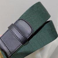 Fashion Best Quality Green Blue Web With Black Leather Donne Cintura con scatola Moda Moda Uomo Classico Argento Argento Fibbia Cintura Uomo Designer Bel ZXQ