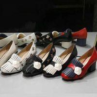 Clássico Médio de salto alto sapatos de couro desenhador ocupação de couro alto sapato redondo cabeça botão de metal botão vestido de mulher grande tamanho US11 34-42