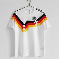 레트로 버전 1990 독일 축구 유니폼 # 18 Klinsmann 성인 반팔 홈 화이트 축구 셔츠 # 10 Matthaus 축구 유니폼