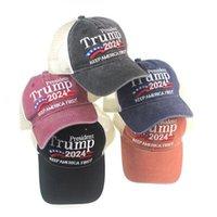 도널드 트럼프 2024 야구 모자 패치 워크 워시 워터 옥외 유지 아메리카 최초의 모자 야외 스포츠 수 놓은 트럼프 메쉬 모자 CYZ3070