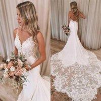 Dentelle Designer Robes de mariée Sirène Sexy Spaghetti Backless 2021 Robes de mariée de mariée Robe de mariée Robe de mariée