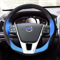 Coperchio del volante in pelle scamosciata in pelle da cucito a mano fai da te per Volvo XC60 S90L XC60 S60L XC60