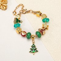 Handgemachte Schmuck Großhandel Charme Armbänder Europäischen Stil DIY Große Loch Perle Armband Weihnachten Geschenke Für Frauen Weihnachtsbaum Anhänger Rot Früchte 3D Stern