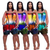 summer Women Jumpsuit 2021 New Designer tie dye print loose strap Onesies with pocket Fashion suspender shorts Rompers 8524