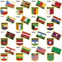 Reprego Checo Zimbábue Camarões Catar Bandeira Nacional Bordado Ferro Em Patches para Roupas Metal Emblemas DIY Serra em Patches