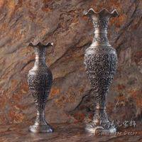 Vazolar Vintage Ev Dekorasyonu Metal Vazo Kalaylı Renk Masaüstü Sanat Dekorasyon Zanaat Antika Çiçek Oyma Hediye