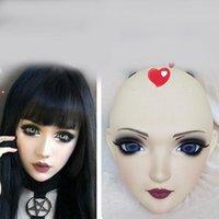 Máscaras de festa (Zi-04) Feminino Menina Doce Resina Meia Cabeça Kigurumi Máscara com BJD Olhos Cosplay Japonês Anime Papel Lolita Crossdress Boneca