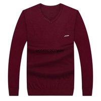 Осень Домашняя футболка мужская толстая плюс размер V-образным вырезом свитер среднего возраста повседневная пуловер вязаные верхние свитеры