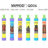 원래 VAPMOD RGB 플래시 일회용 vape 펜 장치 전자 담배 650mAh 배터리 6.0ml 포드 2000 퍼프 스타터 키트 증기 VS 퍼프 바 플러스 XXL Flex