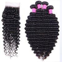 Peruvian Human Hair Bundles Brazilian Malaysian Deep Wave 4 pcs With 4*4 Lace Frontal Closure Indian Virgin Remy Hair Extensions