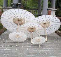DHL 40 60 cm Diâmetro China Guarda-chuva Japão Tradicional Parasol Bambu Quadro De Madeira Punho Parasóis Branco Guarda-sóis Artificiais