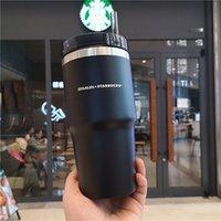 20 oz Starbucks Buzlu Siyah Paslanmaz Çelik Saman Fincan Stanley Katı Renk Büyük Kapasiteli Araba Taşınabilir Su Kupası Hediye