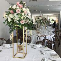 Mumluklar 14 adet) Düğün Dekorasyon Altın Metal Çiçek Standı Sütun Düğün Masa Centerpiece Olay Partisi için 1432