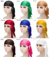 Free arrives Fashion Men's Satin Durags Bandana Turban Wigs Men Silky Durag Headwear Headband Pirate Hat Hair Accessories