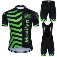 moxilyn Green wide striped wave pattern cycling jersey set summer short sleeve and shorts suithigh quality material bike clothing