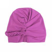 Beanies European American Turban Yoga Hat Baotou Cap Solid Color Twist Braid Muslim Women Silk Chemotherapy