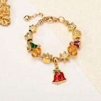 Handgemachte Schmuck Großhandel Charme Armbänder Europäischen Stil DIY Große Loch Perle Armband Weihnachten Geschenke Für Frauen Mädchen Urlaub Geschenk Goldenes Armband Rote Glocke Anhänger