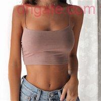 Seksi Göbek Yaz kadın Bluzlar Gömlek Halter Katı Renk Pamuk Sling Maruz Kalın Yelek NVTX101