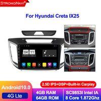 2.5D IPS DSP Android 10.0 Автомобильный DVD GPS Мультимедийный проигрыватель для CRETA IX25 Навигация радио 4 + 64G 4G LTE WiFi BT