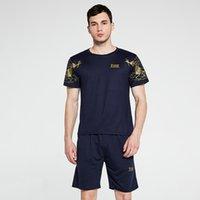 여름 티셔츠 + 반바지 2 조각 남성 세트 3D 인쇄 o 넥 짧은 소매 우유 실크 통기성 스포츠 피트니스 트랙 수트 체육관 의류
