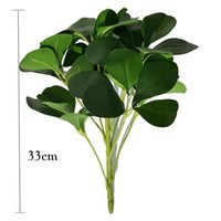 Flores decorativas grinaldas 33 cm folhas tropicais plantas artificiais ramos bonsai plástico árvore verde falsa magnólia real toque real para casa dez