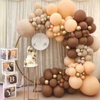 Party Decoration 114pcs Balloons Garland Brown Mama To Be Later Balloon 5-18inch Baby Shower Happy Birthday Double Apricot Year