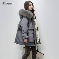FitAylor Grande pele natural com capuz jaqueta de inverno mulheres 90% pato branco para baixo parkas grossas quentes chaminete de neve 210909