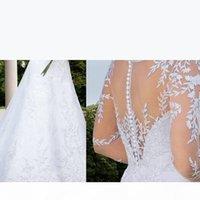 Langarm Sheer Brautkleider Kristall Illusion Neue 2016 Brautkleider Eine Linie Crew Neck Button Bedeckte Bodenlangen Custom Made