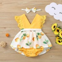 Toddler Kids Baby Girls Lace Lemon Print Dress Romper Headba...