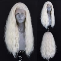 Synthetic Wigs Blonde Color Long Wavy Lace Front Wig Hear Resistant Fiber Hair Side Part Glueless Cosplay For Women