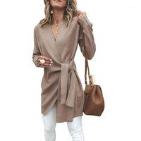 Mujeres Faux Wool Blend Cardigan Sólido Casual Coat Coat Fashes V Cuello de manga larga Warp Otoño Invierno Vendaje Encaje Up Abrigos Outwear1