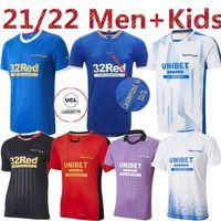 2021 Rangers 150th Yıldönümü Üçüncü Uzakta Futbol Formaları Glasgow Eğitim Tee Maç Günü Tee-Beyaz Oyuncu Sürüm Barker Morelos 21 22 Futbol Gömlek Ev + Çocuk Seti