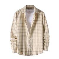 Men's Casual Shirts Cotton Style Printed Plaid Harajuku Shirt Long Sleeve Coats Men Size Preppy Drop Streetwear 4