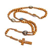 Madera natural Mano tejida perlas de madera Jerusalén Católica Religiosa Joyería Cruz Cruz Jesús Beads Collar