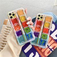 Capas telefônicos criativos para iphone 12 pro 11 7 8 plus se x xs max xr cor pigmento de arte completa tampa de proteção