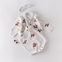 Baby Knited Cardigan and Romper Sweet Cherry Embroidered Coat Toddler Sweater Baby Girl Jacket for 3-18 Months Infant Clothes