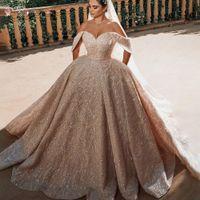 Роскошные бисы кристаллы шариковые платья свадебные платья халат де Мария сексуальная открытая задняя крышка рукава свадебные свадебные платья Vestido de Noiva 2021 BJ01