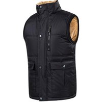 Men's Vests Mens Fleece Fur Lined Waistcoat Multi Pocket Utility Vest Sherpa Jacket Sleeveless Fishing Waterproof Plus Size 903-B537