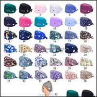 Beanies Caps Headwears Athletic Outdoor As Sports & Outdoors37 Colors Adjustable Working Scrub Cap With Protect Ears Button Floral Bouffant