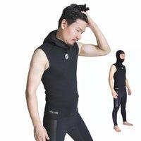 3mm neopreno traje de neopreno chaqueta sin mangas hombres con capucha chaleco de buceo de buceo para snorkeling Spearfishing Surfing Kite Skin Skin Básico Traje Mojado Traje de baño