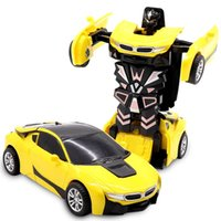 2in1 Plastic Mini Transformation Robot Car For Boys Action Figure Collision Transform Inertial Car Vehicle Deformation Model Toys