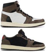 Melhor Qualidade 1 Alta Og Travis Scotts Cacto Jack Camurça Escuro Mocha Ts SP 3M Sapatos de Basquete Homens 1s Baixo Travis Scotts Sneakers com caixa