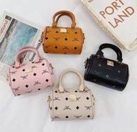 4farbe Mode Kinder gedruckte Kette Handtaschen Zylinder Kissen Designer Mädchen Rundküche Bags Bags Kids PU Leder Messenger Bag Münze Geldbörse